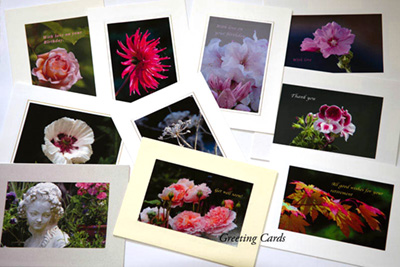 A boxed set of 10 Flower themed photographic themed greeting cards.