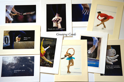 A boxed set of ten Sport themed photographic greeting cards.