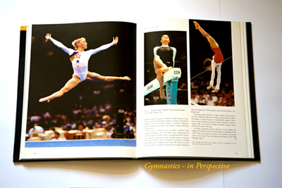 A sample double page from the book 'Gymnastics - In Perspective'.