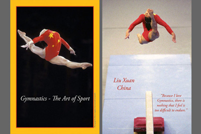 Two Gymnastics themed photographic poster prints.