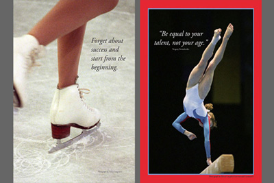 Two photographic poster print designs featuring Skating and Gymnastics.