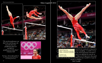 A double page spread of Beth Tweddle