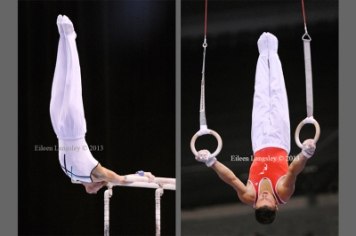 Jay Thompson and Gianni Regini-Moran competing in the men's competition at the British Gymnastics Championships Liverpool Echo Arena March 22-24 2013.