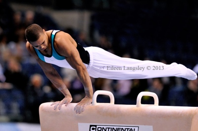 Reiss Beckford (South Essex GC) competing in the senior men's competition at the British Gymnastics Championships Liverpool Echo Arean March 22-24 2013.