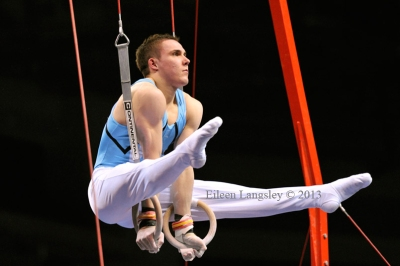 Sam Hunter (Notts Gymnastics Academy) competing in the senior men's competition at the British Gymnastics Championships Liverpool Echo Arean March 22-24 2013.