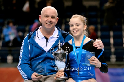 Steven Price and Gabrielle Jupp (Sapphire GC) competing in the senior women's competition at the British Gymnastics Championships Liverpool Echo Arean March 22-24 2013.