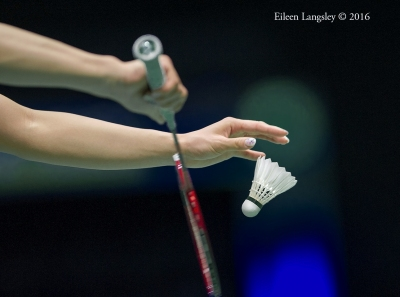 Ayaka Takahashi (Japan) about to serve during the 2016 All England Badminton Championships in Birmingham