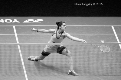 Carolina Marin (Spain) in action during the 2016 All England Badminton Championships in the Barclaycard Arena Birmingham