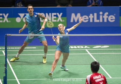 Chris and Gabrielle Adcock competing in the 2016 All England Badminton Championships in Birmingham