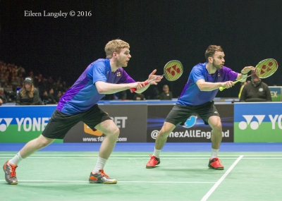 Marcus Ellis and Chris Langridge (England) competing in the men's doubles event at the 2016 All England Badminton Championships at the Barclaycard Arena Birmingham