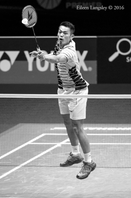 Lin Dan (China) competing in the 2016 All England Badminton Championships ayt the Barclaycard Arena Birmingham