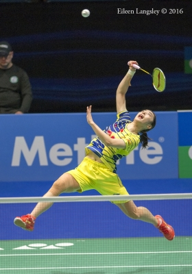 Wang Shixian (China) competing in the 2016 All England Badminton Championships in Birmingham