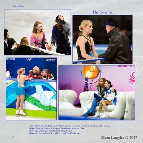 Page 100 of the book 'Frozen in Time' featuring images of skaters with their coaches.