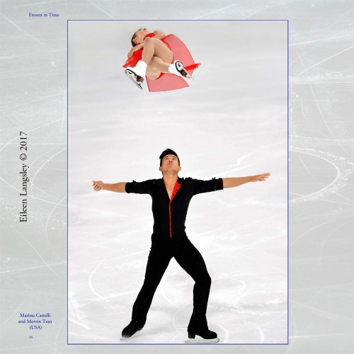 Page 16 of the book 'Frozen in Time' featuring Pairs skaters Marissa Castelli and Mervin Tran competing in the 2016 ISU Grand Prix in Paris.