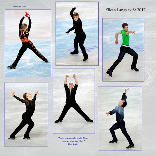 Page 32 of the book 'Frozen in Timne' featuring male skaters.