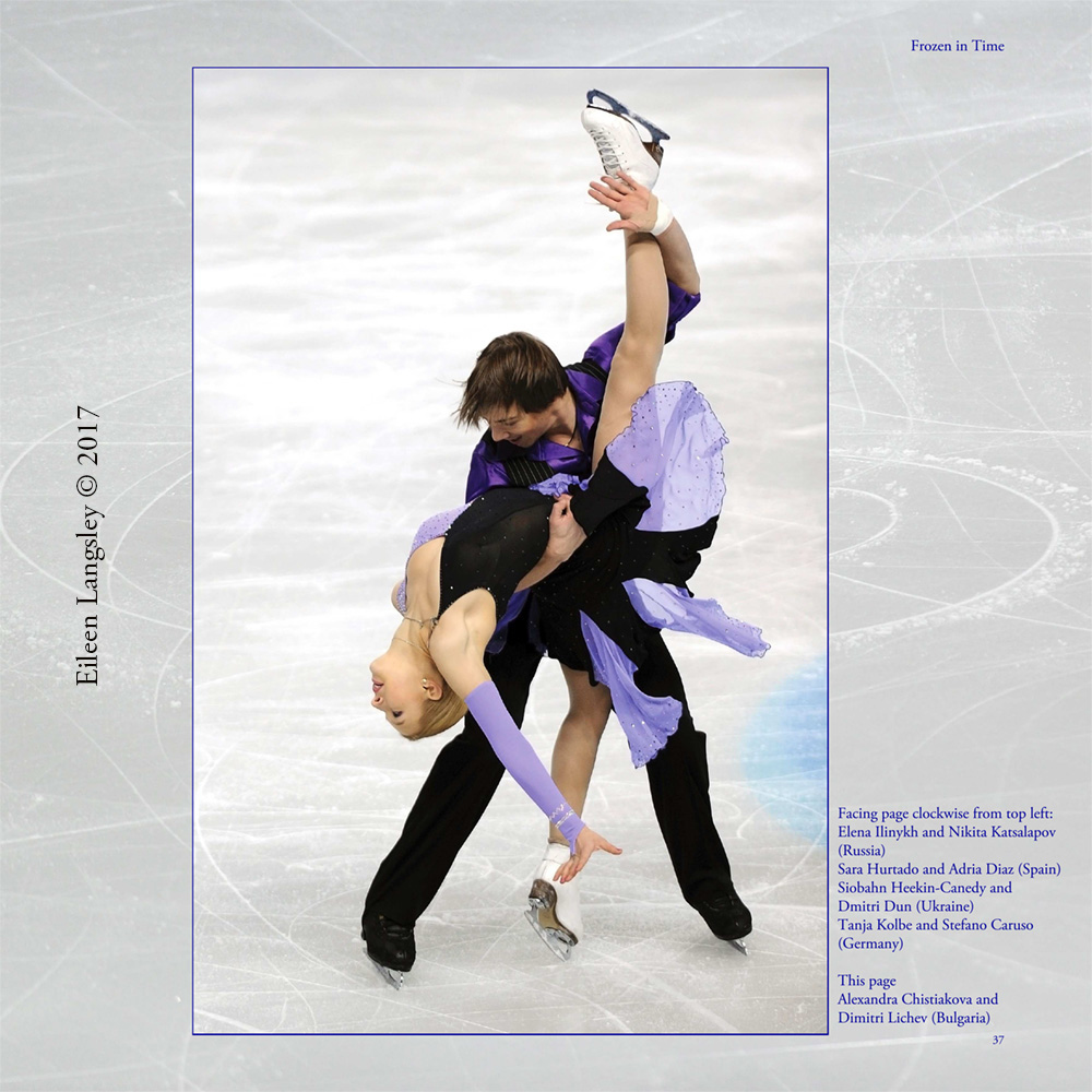 Page 37 of the book 'Frozen in Time' featuring Ice Dancers Alexandra Chistiakova and Dimitri Lichev (Bulgaria).