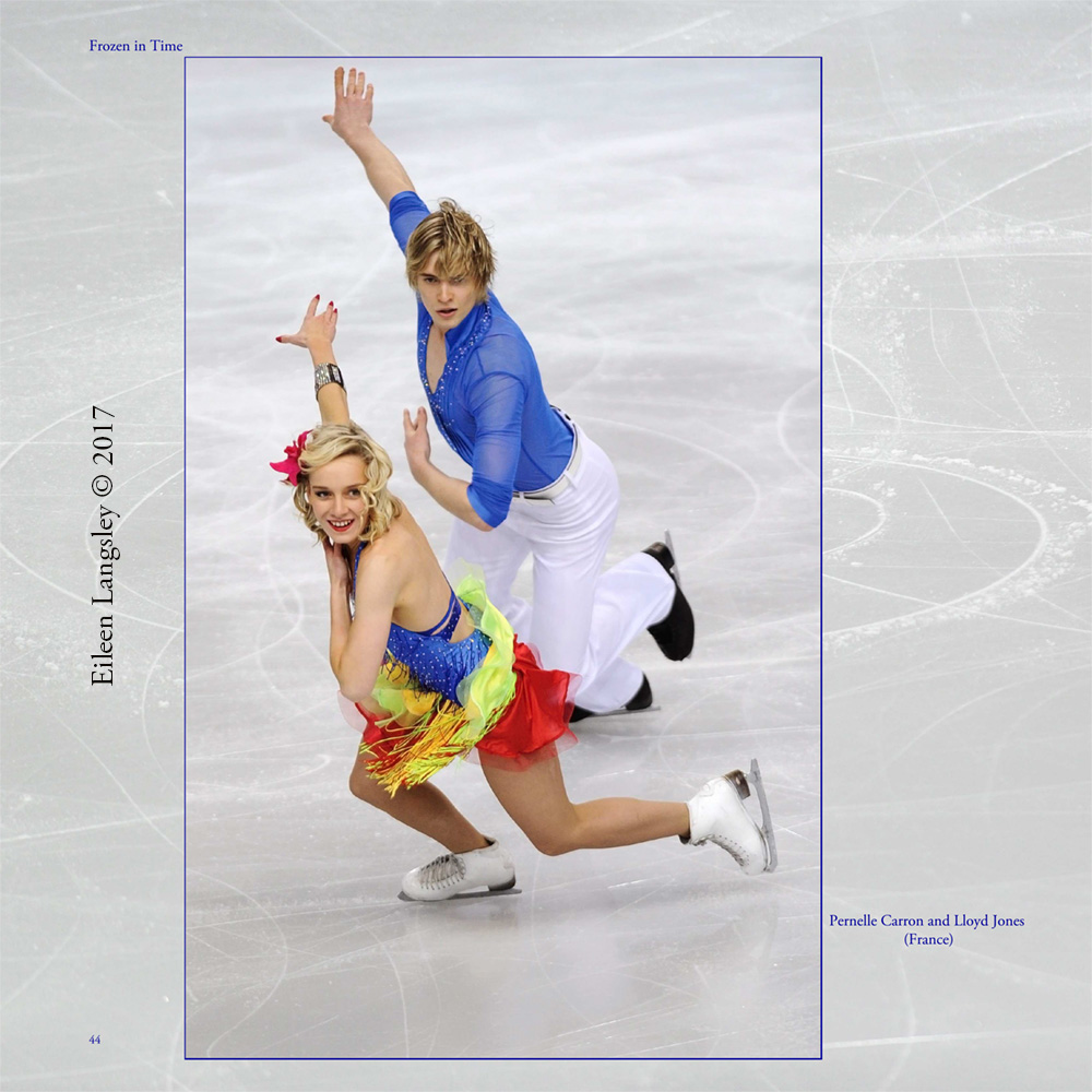 Page 44 of the book 'Frozen in Time' featuring Ice Dancers Pernelle Carron and Lloyd Jones (France).