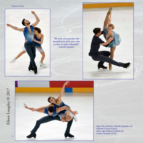 Page 46 of the book 'Frozen in Time' featuring ice dancers Gabriella Papadakis and Guillaume Cizeron (France) and Madison Hubbell and Zachary Donhue (USA).