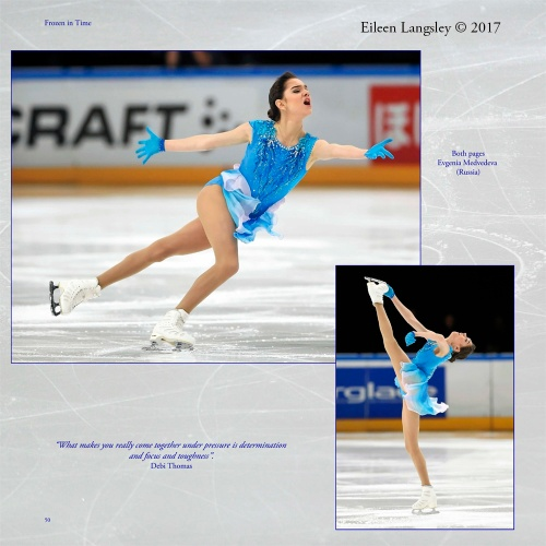 Page 50 of the book 'Frozen in Time' featuring Evgenia Medvedeva (Russia) competing in the 2016 ISU Grand Prix in Paris.