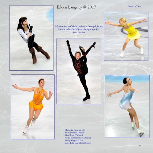 Page 55 of the book 'Frozen in Time' featuring Ladies skaters.
