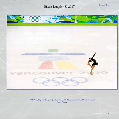 Page 61 of the book 'Frozen in Time' featuring a generic images from the 2010 Vancouver Winter Olympic Games.