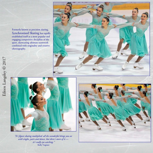 Page 63 of the book 'Frozen in Time' featuring the Nottingham Icicles Synchronized Skating team competing in the 2017 British Championships.
