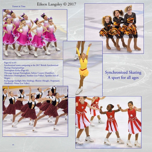 Page 64 of the book 'Frozen in Time' featuring young skaters competing in the 2017 British Synchronized Skating Championships.