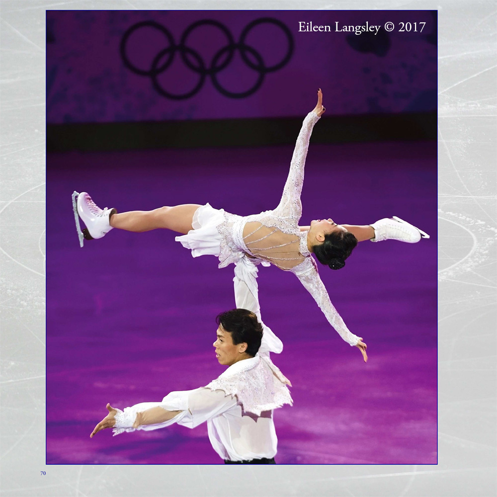 Page 70 of the book 'Frozen in Time' featuring pairs skaters Xue Shen and Zhao Hongbo (China) in an exhibition routine at the 2010 Vancouver Winter Olympic Games.