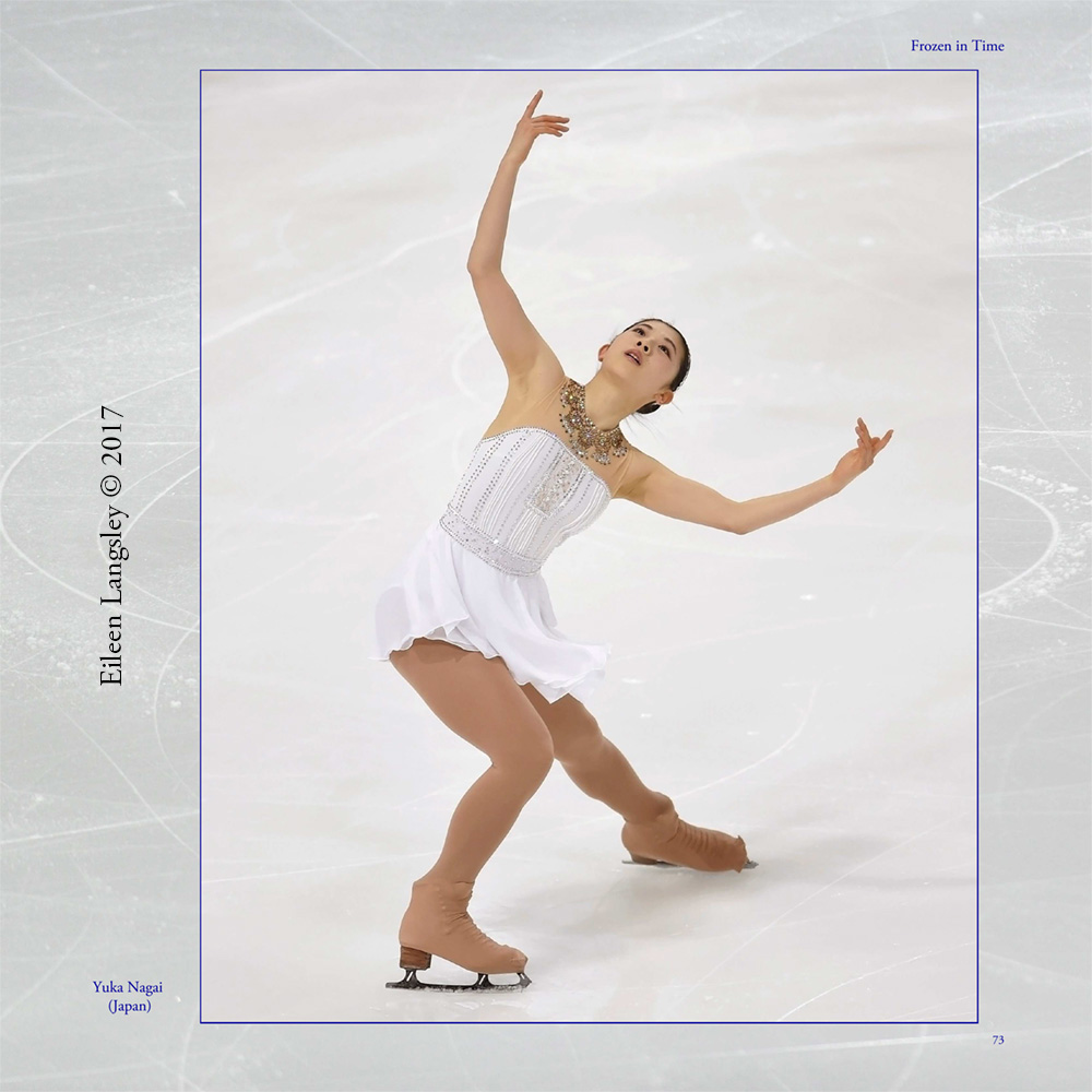 Page 73 of the book 'Frozen in Time' featuring Yuka Nagai (Japan) competing in the 2016 ISU Grand Prix in Paris.