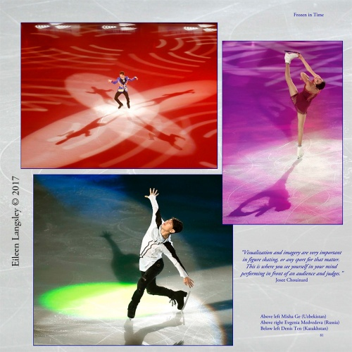 Page 81 of the book 'Frozen in Time' featuring Denis Ten, Misha Ge, Evgenia Medvedeva in exhibition routines at the 2016 ISU Grand Prix in Paris.