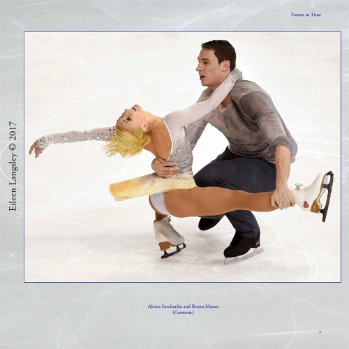 Page 9 of the book 'Frozen in Time' featuring paiurs skaters Aliona Svachenko and Bruno Massot (Germany).