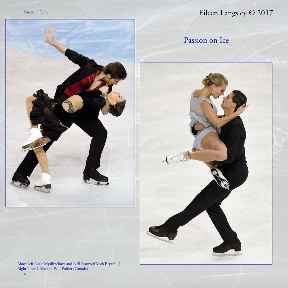Page 94 of the book 'Frozen in Time' featuring ice dancersLucie Mysliveckova and Neil Brown (Czech Republic) and Piper Gilles and Paul Poirier (Canada).