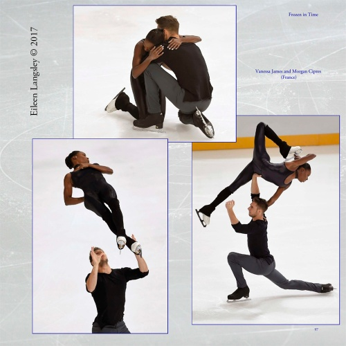 Page 97 of the book 'Frozen in Time' featuring Pairs skaters Vanessa James and Morgan Cipres (France).